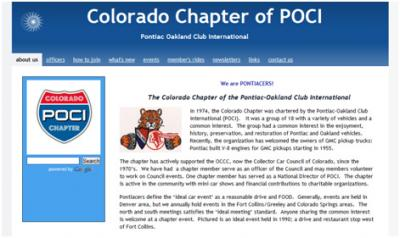 Recent website for the Pontiac Club's Colorado chapter - copoci.org